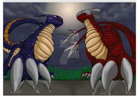 Dragon fight by The-DeathAngel