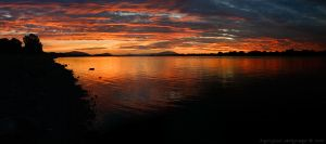 panoramic river sunset by bimjo