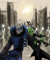 ME2 - Thane and Garrus by Nalikatti