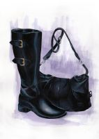 Boot and handbag by Saelian