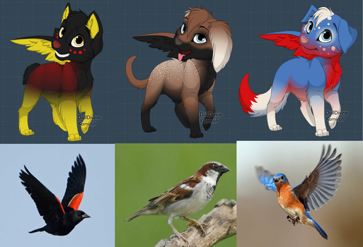 BIRD-INSPIRED WINGED DOGS (CLOSED) by Snowy-The-Owl