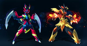 Scizor and Blaziken (redesigned + PSD)