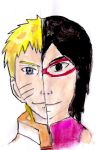 Sarada and Naruto painting speedpaint by Fran48