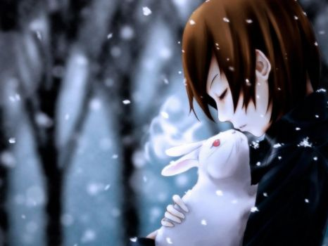 Girl And Rabbit In Snow by LaurenPenelope