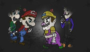 Mario Bros. Vs. Wicked Bros. by HamSamwich
