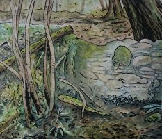 Stone wall watercolour and ink by BecciES