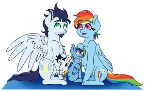 Family Portrait - Rainbow Dash w/Color by Wildnature03
