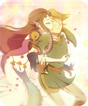 Twilight Princess: ZeLink glomp by Zelbunnii