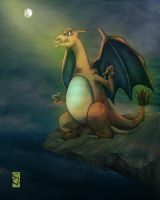 Moonlit Charizard by ShatteredSwords