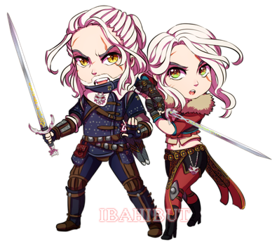 Chibi Geralt and Cirilla by ibahibut