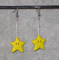 Super Mario Bros-Star Earrings by StuffiezPlz