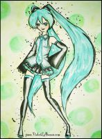 Hatsune Miku Watercolour by VioletLeBeaux