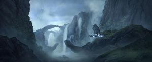 sci-fi matte painting by ortsmor