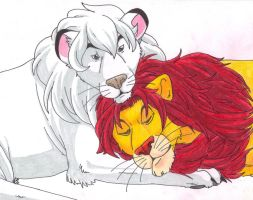 Kimba and Simba by LimeGreenVaccine
