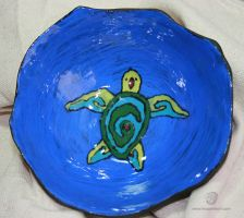 Tribal Sea Turtle Totem Bowl by leopardwolf