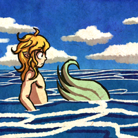 Link Finds a Shark in the Water by Zeepla