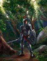 Knight in forest by Mlad