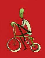 pickle man on a bike by zacimag
