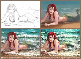 Ariel washed ashore - step by step by Yuuza