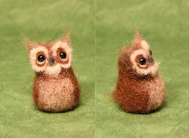 Needle felted eagle owl by Sofakitty