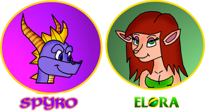 Spyro and Elora coloured doodles by Thornacious