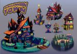 Halloween Town Buildings by nagisadreamer