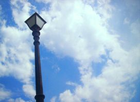 Lamp in a blue blue sky by trepet