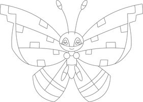 Lineart of Vivillon with the tundra pattern by InuKawaiiLover
