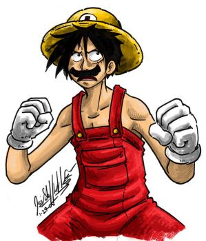 Luffy Mario Colored by KaleiC