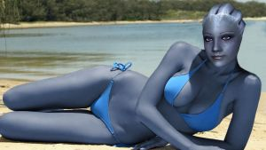Liara relaxing on the Beach by RenderEffect-Dan