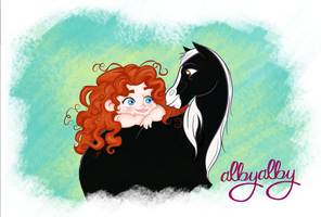 merida toddler and  angus by ALBY-LePetiteDreamer