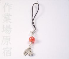 Red Flower and Leaf PhoneCharm by StudioHarajuku