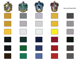 Hogwarts Uniform Color Swatch by chaoticteapot