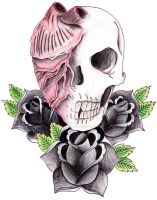 Skull Heart and Roses by mikesmith101