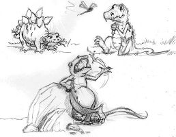 Dinosaur Sketches by mikeandrickgraphics
