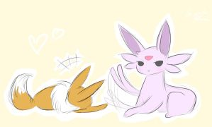 Espeon and Eevee by La-maestra-PokemonXD