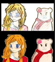 [Hetalia] Canako and Kumarie: Sketch and Pixlr by Roxyielle