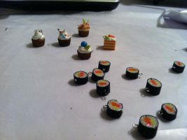 Sushi charms and Cupcakes by CuteTherapy