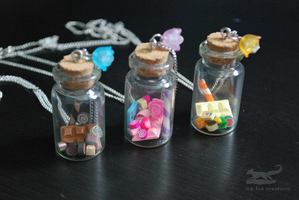 Sweet Candy Glass Bottles by antarctic-storm