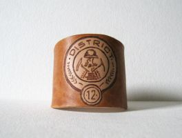 District 12 Hunger Games Leather Cuff Bracelet by ange-etrange