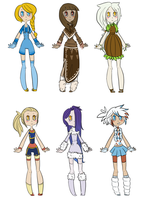 Pokemon Gijinka Adoptables: Girl Set .:CLOSED:. by Forestii