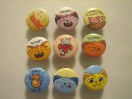 kitty buttons by flameinheaven