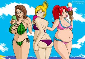 Bikini Girls on the Beach by munemune