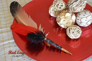 """Red Eagle"" Dip Quill Pen by Ashalind"
