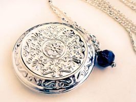 SOLD - Swarovski Amethyst Silver Filigree Locket by crystaland