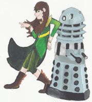 Ari and Renegade Dalek painting by mousie242
