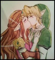 Link and Zelda The Last Kiss by northernlightsky