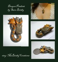 Green Gold Dragon Necklace Pendant -polymer clay by Brisbykins