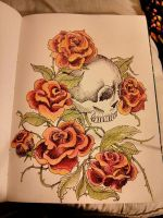 Skull and roses by H-o-s-t
