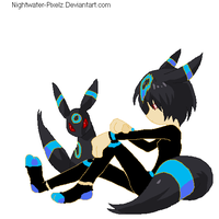 Shiny Umbreon and Trainer by Pikachuluva